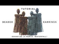 YouTube Beaded Earrings, Earrings Handmade, Beaded Jewelry, Free Beading Tutorials, How To Make Tassels, Earring Tutorial, Fabric Jewelry, Beads And Wire, Beaded Embroidery