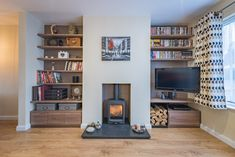 Alcove Bookshelves, Alcove Shelving, Bookcase Wall, Book Shelves, Alcove Cupboards, Fireplace Feature Wall, Dining Room Shelves, Open Plan Kitchen Living Room, Front Rooms