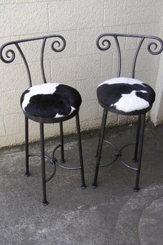 horned stools with cowhide seats