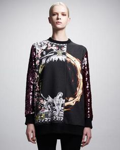 $2396 Givenchy Sweatshirt  Designer sweatshirts are all the rage this season, but how on Earth does a basic black sweatshirt with screen printing and sequin sleeves co...