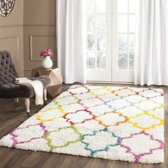 Shop for Safavieh Kids Shag Ivory/ Multi Rainbow Trellis Rug - x Get free delivery at Overstock - Your Online Home Decor Store! Get in rewards with Club O! Flower Carpet, Rainbow Bedroom, Rainbow Nursery, Rainbow Kids Rooms, Kids Area Rugs, Kids Room Rugs, Trellis Rug, Little Girl Rooms, Carpet Runner