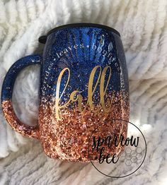 Stainless steel coffee mug // fall mug // glitter tumbler // ombré tumbler // custom coffee mug // glitter fall mug
