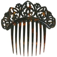 Preowned Elaborate Victorian Tortoise Shell Comb ($895) ❤ liked on Polyvore featuring accessories, hair accessories, black, hats, tortoise hair accessories, hair comb accessories, tortoiseshell hair combs, tortoise hair comb and tortoise shell hair combs