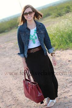 Jean jacket, white t-shirt, belt, maxi skirt, ...