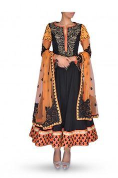Black Anarkali Suit with Orange Dupatta