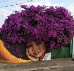 Flower Power, Amazing Street Art, Happy Labor Day, Flower Farm, Flowering Trees, Hair Journey, Street Artists, Magazine Art, Urban Art