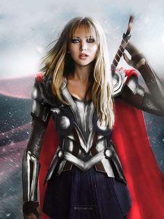 We're loving this @Marvel gender-swap manip by http://disimilis.tumblr.com. Jennifer Lawrence as Thor.