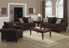 Monarch 8732CH - Chocolate Chenille Fabric Love Seat with 2 Accent Pillows | Sale Price: $626.00