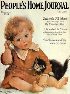Frances Tipton Hunter (1896 – 1957, American): adorable little one with kitten
