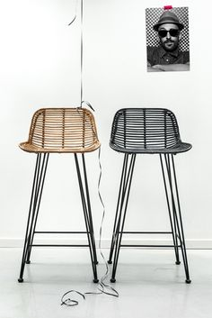The Scandinavian Inspired Rattan Bar Stool by Hk Living in black is a stunning designer piece of furniture for any home. Available in store or from our online homewares and Furniture store. Wicker Bar Stools, Rattan Stool, Bar Stool Chairs, Dining Chairs, Swivel Chair, Bar Stools Kitchen, Side Chairs, Black Rattan Chair, Kitchen Seating