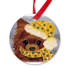 Christmas Chihuahua Round Ornament Tree Decoration Dog Art  sugarspiceArt