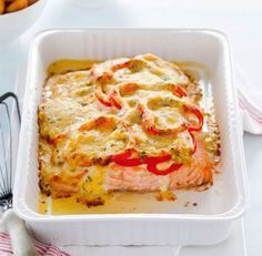 Recept voor romige zalmschotel met paprika