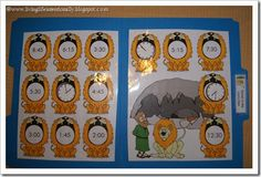 Daniel In the Lions Den File Folder Game - Telling Time How to Play: This is a file folder  game for Daniel's  time in the lion's den.   This game is for  children who are  working on early time  telling skills.  Children  read the digital time  on each lion, then  cover it's mouth with  the correct analog  clock.