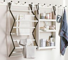 Gabrielle Laundry Set | Pottery Barn. Use in Guest bathroom only mount each component solidly to the wall to be used as towel rack, extra storage/display, clothing hooks.