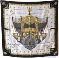 Hermes Vintage Vue De Carrosse De La Galere La Reale Silk Scarf Scarves & Wraps $423