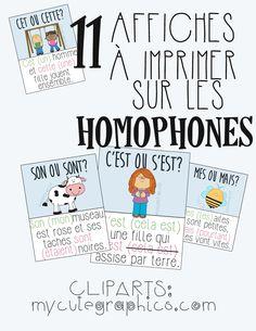 Affiches sur les homophones 11 affiches à imprimer