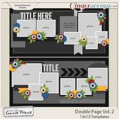 Double Page Volume 2 - 12x12 Temps (CU Ok) Released as stand alone Dec 2014 from Designs by Connie Prince    *Previously included in November 2014 Template Bundle