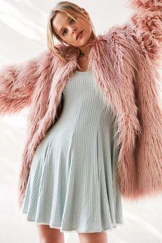 Ecote Topanga Cozy Ribbed Long-Sleeve Mini Dress - Urban Outfitters