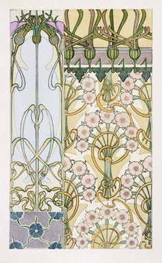 Decorative carnation design, by Alphonse Mucha