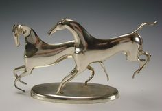 Karl Hagenauer Art Deco Chrome Sculpture - Horses Playing - Vienna Austria