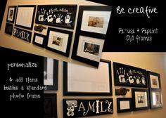 hallway redesign...love the arrangement of whiteboard, photos, handprints and wordart.