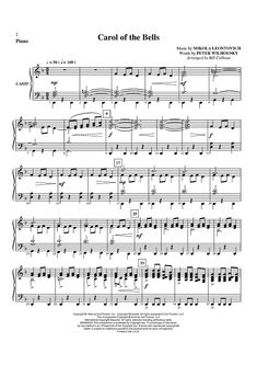 Carol of the Bells - Piano Sheet Music Preview Page 1