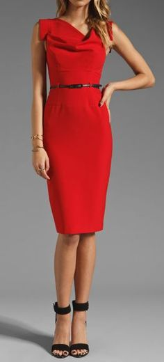 Red midi elegant dress + black heels. clothing women style @roressclothes closet ideas apparel fashion ladies outfit