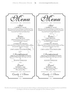 wedding menu printable diy digital file menu custom wedding menu classic wedding collection