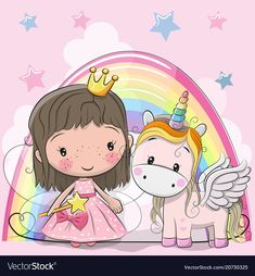 Greeting Card with Cute Cartoon fairy tale Princess and Unicorn. Download a Free Preview or High Quality Adobe Illustrator Ai, EPS, PDF and High Resolution JPEG versions.