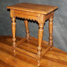 Oak Joint Stool-Late 19th C Oak joint stool. 1880.