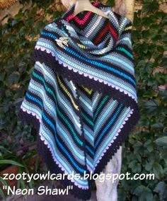 Zooty Owl's Crafty Blog: The Neon Shawl - Free Crochet Pattern