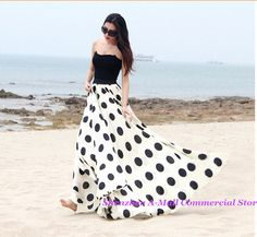 Cheap skirt hanger, Buy Quality skirt guard directly from China skirts womens Suppliers: Plus size dots printed chiffon skirts womens summer 2014 new fashion maxi skirt floor-length elastic high waist slim lon