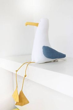 Seagull Peter with Blue Wings/ Seagull Soft Toy/Decorative Seagull/ Sea Birds