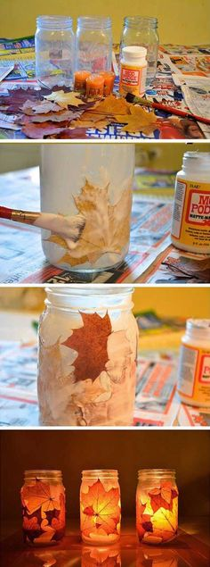 frascos velas - Love this! Easy and cute Autumn Crafts, Thanksgiving Crafts, Holiday Crafts, Holiday Fun, Mason Jars, Mason Jar Crafts, Fun Diy Crafts, Crafts For Kids, Leaf Crafts