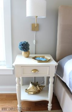 Spray Painted Nightstand Refresh -after!!! What a reveal.