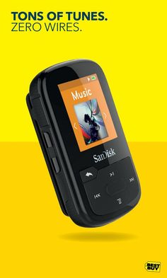 The SanDisk Clip Sport Plus 16GB Bluetooth MP3 Player is water-resistant, durable and perfect for any workout. Simply clip on this MP3 player and get moving. Pair it with your Bluetooth wireless headphones for even more freedom. It's got FM tuner support, room for up to 4,000 songs and up to 20 hours of playback. This little workout buddy is ready for the toughest activities you can throw at it – rain, mud, sleet, whatever. Get yours at Best Buy.