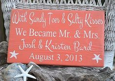 Sandy Toes and Salty Kisses Mr. and Mrs., Beach Wedding Sign, Personalized Wood Coral Rustic Plaque