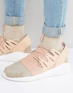 adidas Originals Tubular Doom PK Trainers In Beige BB2390 - Pink