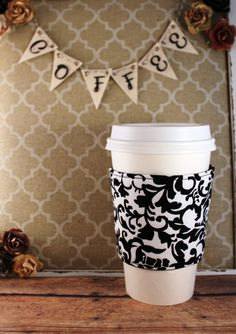 Black and White Floral Coffee Cozy  Coffee Cozy  by SewLoveToSew