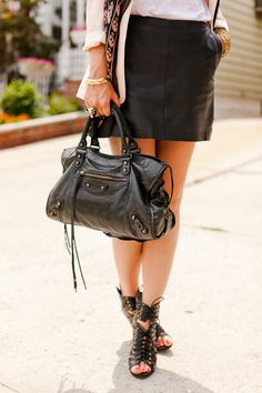 I stare at this bag everyday...... i need it!!!!!!!  Balenciaga bag + leather skirt = LOVE.