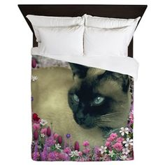 Stella Siamese Cat Flowers Queen Duvet #DianeClancy CafePress
