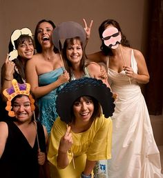 Wedding Photo Booth - Looking for a NEW idea for your next Party or Wedding? Well, heres something Super Easy and inexpensive... STEP 1: Get your PowerPoint open and start looking for hats, wigs, glasses, beards, anything that inspires you to pose with. STEP 2: Print out all of the images and spray mount them on foam board STEP 3: Cut out all the images with an exacto knife STEP 4: Glue sticks to all of the props (images) STEP 5: Put a camera on a tri-pod and on a timer STEP 6: Grab some fri...