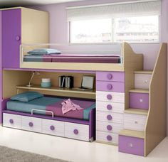 In this article, I will show you the ideas for this stunning purple bedroom. Dream Rooms, Dream Bedroom, Girls Bedroom, Bunk Beds With Stairs, Kids Bunk Beds, Kids Room Design, Bed Design, Purple Bedroom Design, Bedroom Furniture