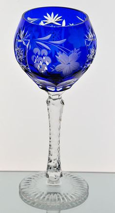 Echt Bleikristall German Cobalt Blue Cut to Clear Crystal Wine Goblet Glass