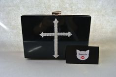 Handmade Small Clear Black Cross Gothic Pop Art with faux pearl, Plastic, acrylic perspex transparent box clutch, evening bag, shoulder bag  #humancat #handmade #clutch