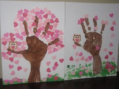 Valentine's Craft with my daughters - 2 for $1 pack of canvases at dollarama, brown hand/lower arm prints to make tree (I painted in the trunk a bit), fingerprint grass and then with my Silhouette cutter hearts for leaves and a wee little owl with googly eyes.