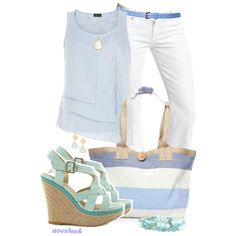 Pale Blue and White 2 by averbeek on Polyvore featuring moda, Jaeger, Moda In Pelle, Avindy, Feather & Stone, BARONI, Citizens of Humanity, women's clothing, women's fashion and women