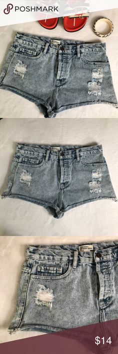 """Forever 21 acid wash high waist jean shorts Forever 21 acid wash high waist jean shorts. Forever 21 """"Premium Denim"""". Acid wash jean shorts. Distressed detail. Vintage style high waisted denim shorts. Frayed, rolled hem. Hidden four button closure. 100% cotton. On trend, vintage style. Size 31, equivalent to a size large or size 12. EUC, excellent used condition. Measurements taken laid flat. 16"""" waist, 12"""" rise, 2"""" inseam. Forever 21 Shorts Jean Shorts"""