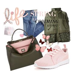 Spring is comming by fineid on Polyvore featuring moda, Moncler, Puma, Fendi, Kobelli and H&M