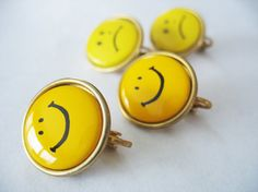 Happy Face Sad Face Earrings Yellow Clip On Goldtone by gussiegurl